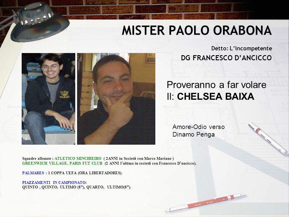 MISTER PAOLO ORABONA Detto: Lincompetente DG FRANCESCO DANCICCO Proveranno a far volare Il: CHELSEA BAIXA Squadre allenate : ATLETICO MINCHIEIRO ( 2AN