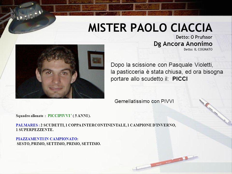 MISTER PAOLO CIACCIA Detto: O Prufssor Dg Ancora Anonimo Detto: IL COGNATO Dopo la scissione con Pasquale Violetti, la pasticceria è stata chiusa, ed