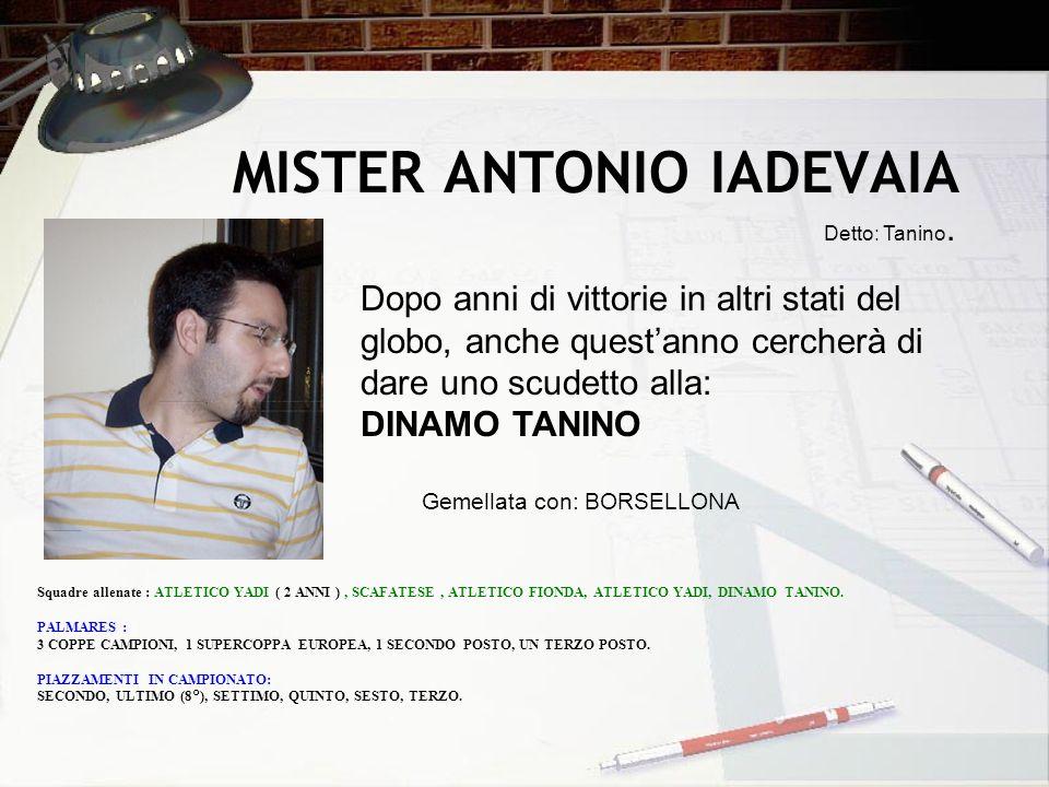 MISTER ANTONIO IADEVAIA Detto: Tanino. Squadre allenate : ATLETICO YADI ( 2 ANNI ), SCAFATESE, ATLETICO FIONDA, ATLETICO YADI, DINAMO TANINO. PALMARES