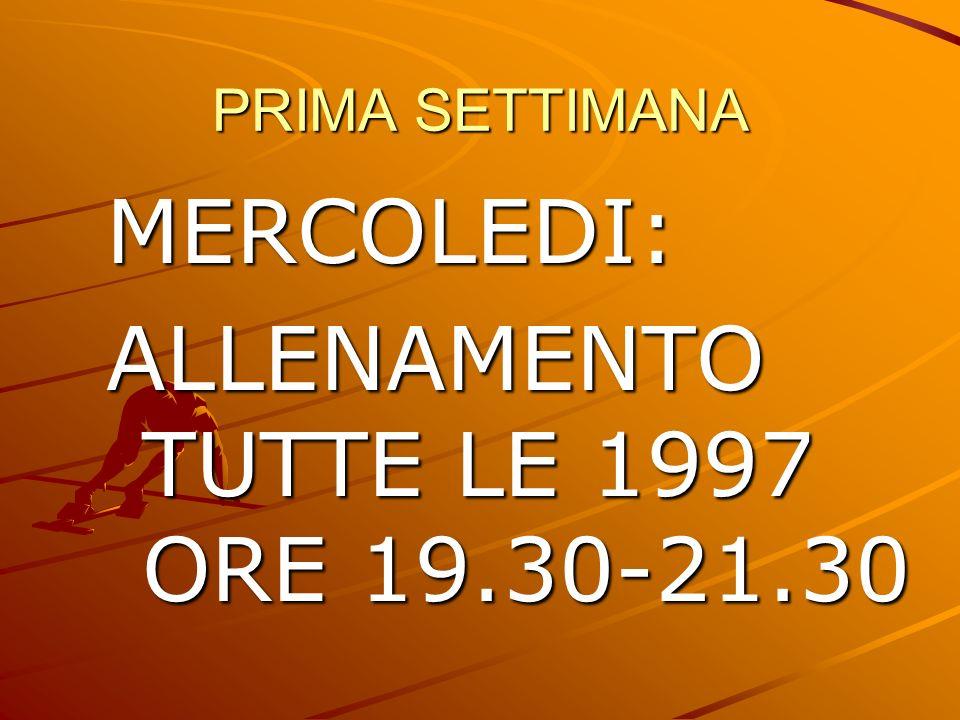 PRIMA SETTIMANA MERCOLEDI: ALLENAMENTO TUTTE LE 1997 ORE 19.30-21.30
