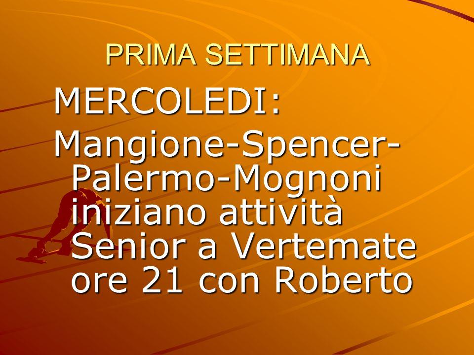 PRIMA SETTIMANA MERCOLEDI: Mangione-Spencer- Palermo-Mognoni iniziano attività Senior a Vertemate ore 21 con Roberto