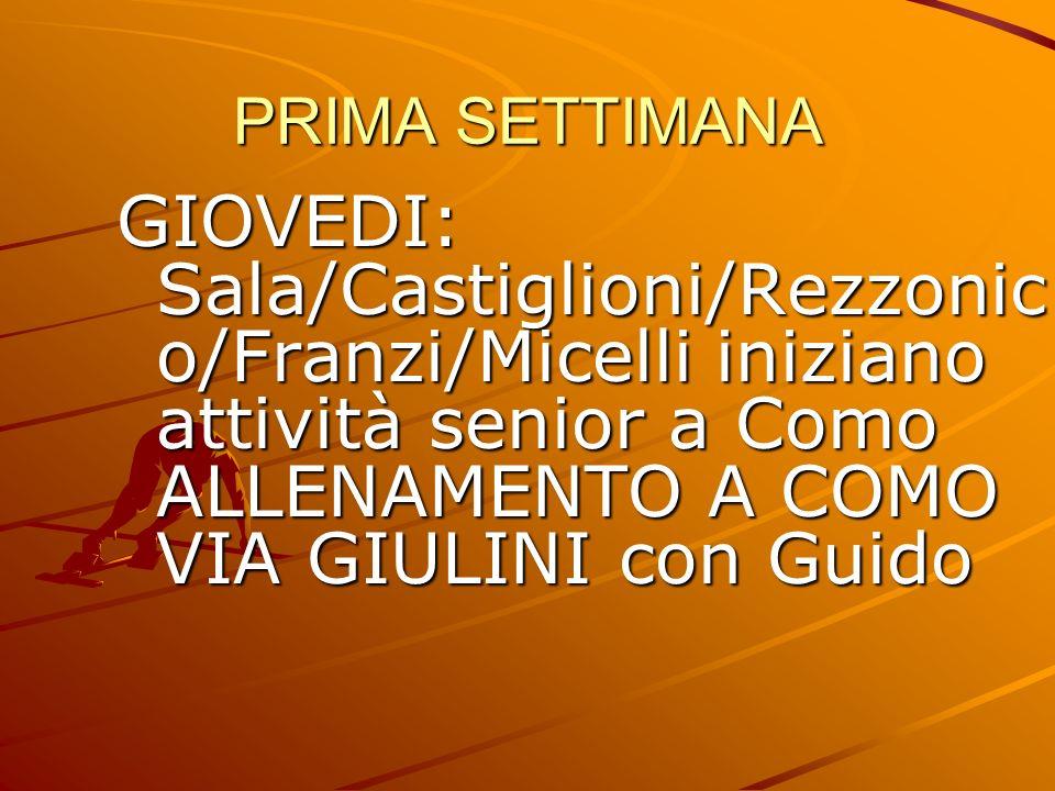 PRIMA SETTIMANA GIOVEDI: Sala/Castiglioni/Rezzonic o/Franzi/Micelli iniziano attività senior a Como ALLENAMENTO A COMO VIA GIULINI con Guido