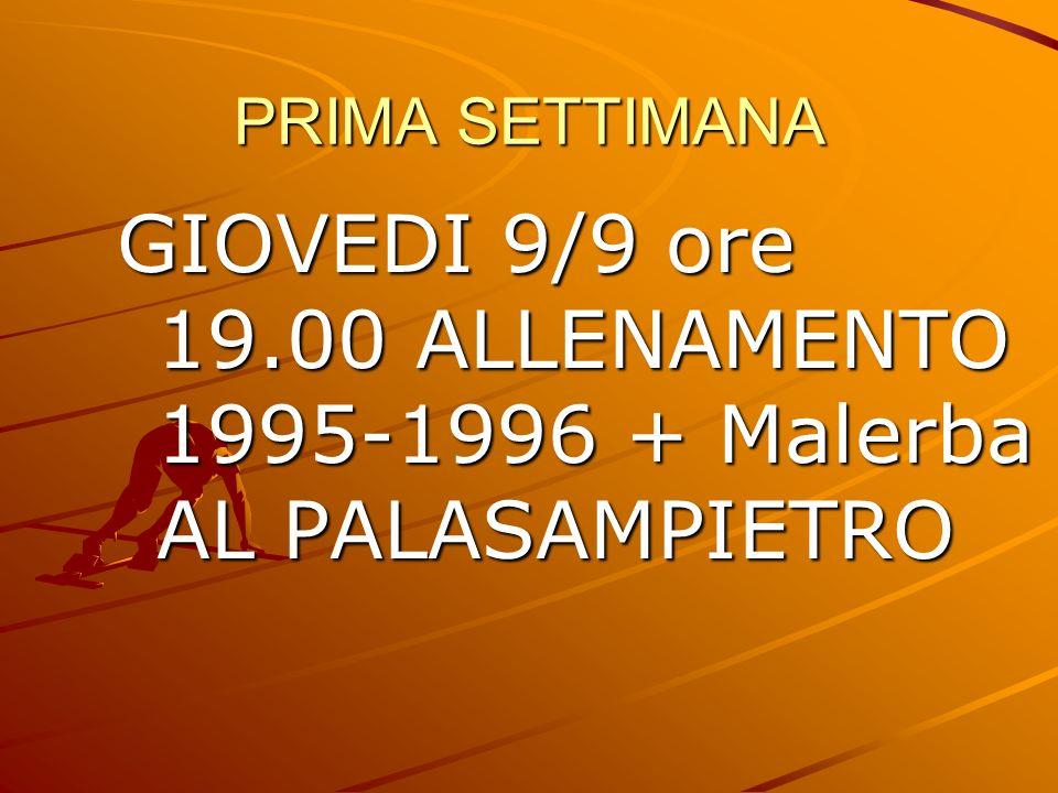 PRIMA SETTIMANA GIOVEDI 9/9 ore 19.00 ALLENAMENTO 1995-1996 + Malerba AL PALASAMPIETRO