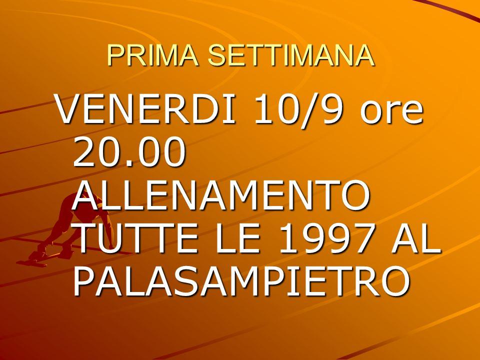PRIMA SETTIMANA VENERDI 10/9 ore 20.00 ALLENAMENTO TUTTE LE 1997 AL PALASAMPIETRO