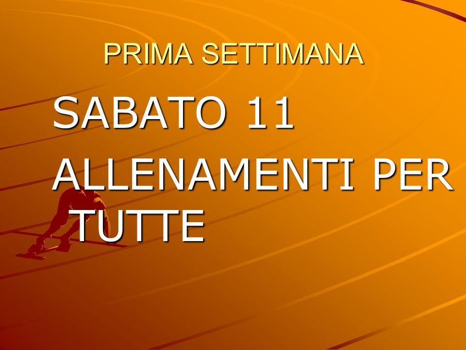 PRIMA SETTIMANA SABATO 11 ALLENAMENTI PER TUTTE