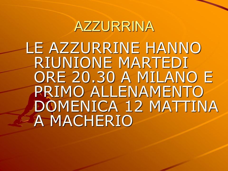 AZZURRINA LE AZZURRINE HANNO RIUNIONE MARTEDI ORE 20.30 A MILANO E PRIMO ALLENAMENTO DOMENICA 12 MATTINA A MACHERIO
