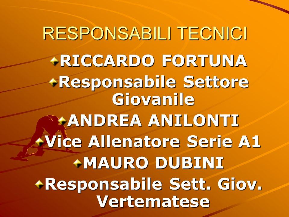 RESPONSABILI TECNICI RICCARDO FORTUNA Responsabile Settore Giovanile ANDREA ANILONTI Vice Allenatore Serie A1 MAURO DUBINI Responsabile Sett.