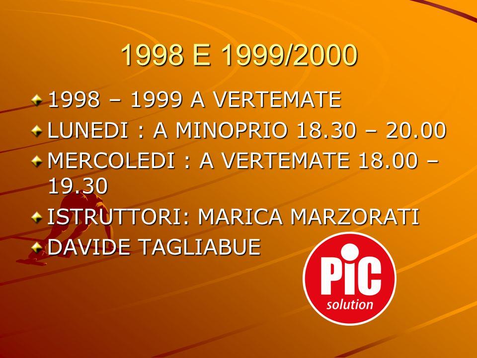 1998 – 1999 A VERTEMATE LUNEDI : A MINOPRIO 18.30 – 20.00 MERCOLEDI : A VERTEMATE 18.00 – 19.30 ISTRUTTORI: MARICA MARZORATI DAVIDE TAGLIABUE