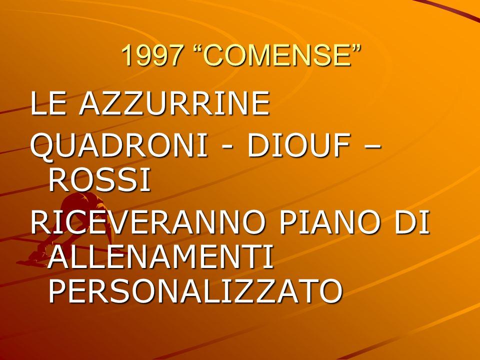 1997 COMENSE LE AZZURRINE QUADRONI - DIOUF – ROSSI RICEVERANNO PIANO DI ALLENAMENTI PERSONALIZZATO