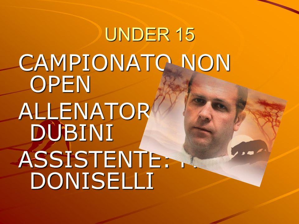 UNDER 15 CAMPIONATO NON OPEN ALLENATORE: MAURO DUBINI ASSISTENTE: MARTA DONISELLI