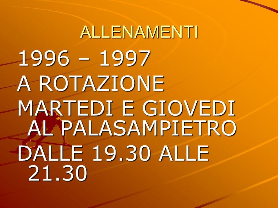 ALLENAMENTI 1996 – 1997 A ROTAZIONE MARTEDI E GIOVEDI AL PALASAMPIETRO DALLE 19.30 ALLE 21.30