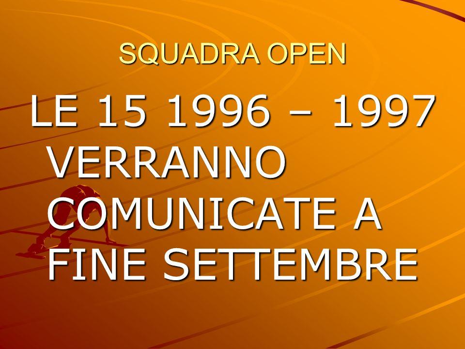 SQUADRA OPEN LE 15 1996 – 1997 VERRANNO COMUNICATE A FINE SETTEMBRE