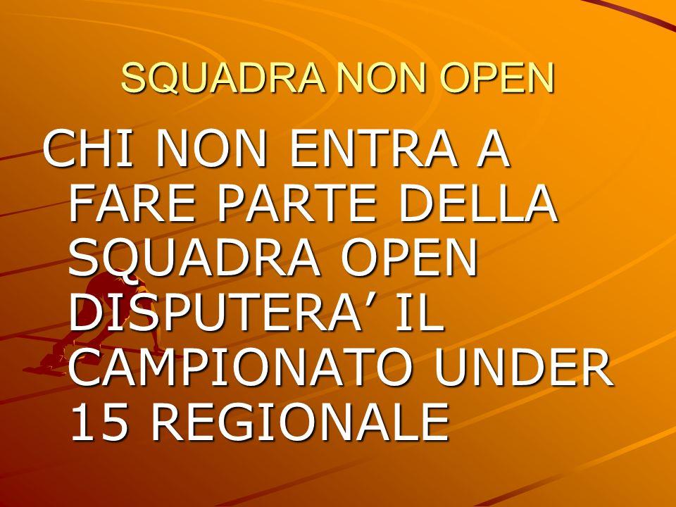 SQUADRA NON OPEN CHI NON ENTRA A FARE PARTE DELLA SQUADRA OPEN DISPUTERA IL CAMPIONATO UNDER 15 REGIONALE