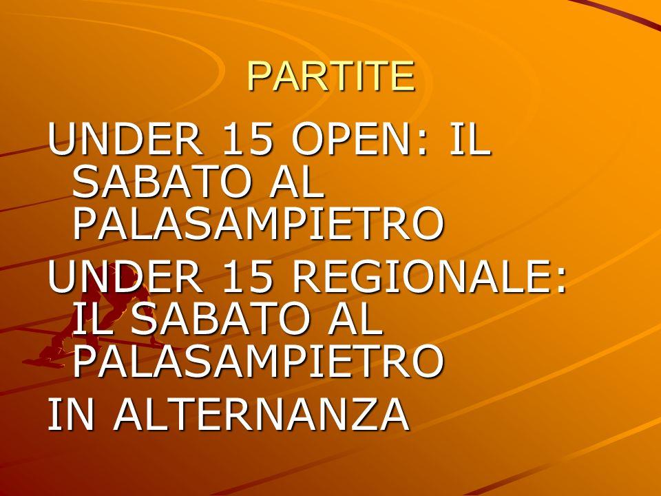 PARTITE UNDER 15 OPEN: IL SABATO AL PALASAMPIETRO UNDER 15 REGIONALE: IL SABATO AL PALASAMPIETRO IN ALTERNANZA