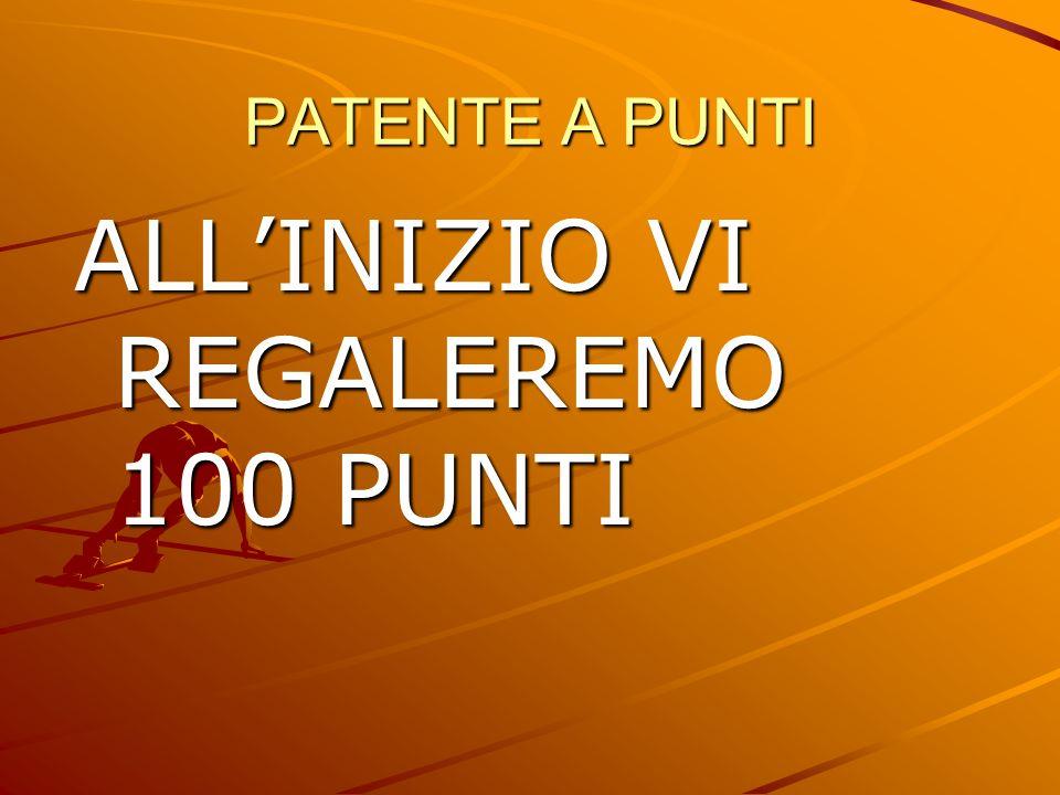 PATENTE A PUNTI ALLINIZIO VI REGALEREMO 100 PUNTI