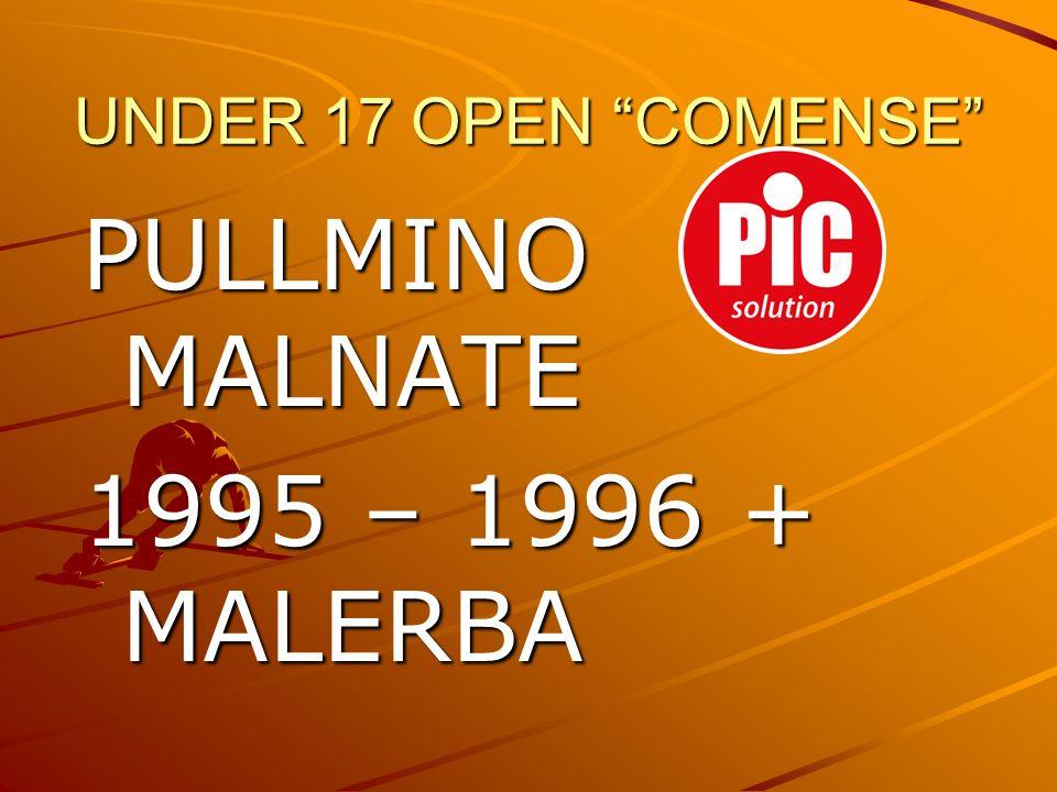 UNDER 17 OPEN COMENSE PULLMINO MALNATE 1995 – 1996 + MALERBA
