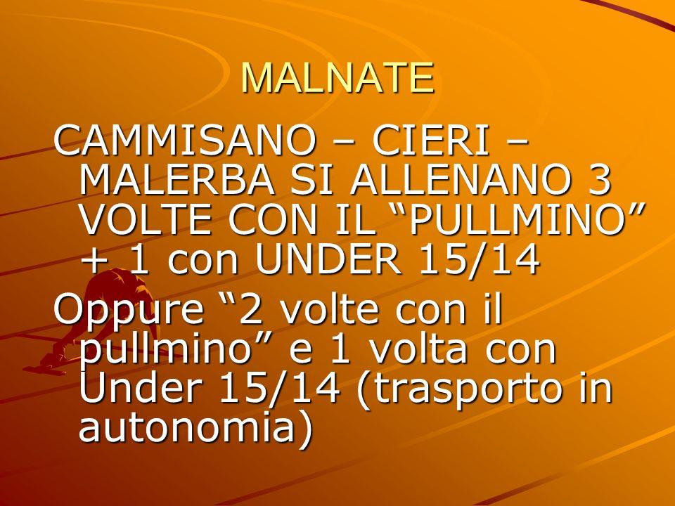 MALNATE CAMMISANO – CIERI – MALERBA SI ALLENANO 3 VOLTE CON IL PULLMINO + 1 con UNDER 15/14 Oppure 2 volte con il pullmino e 1 volta con Under 15/14 (trasporto in autonomia)
