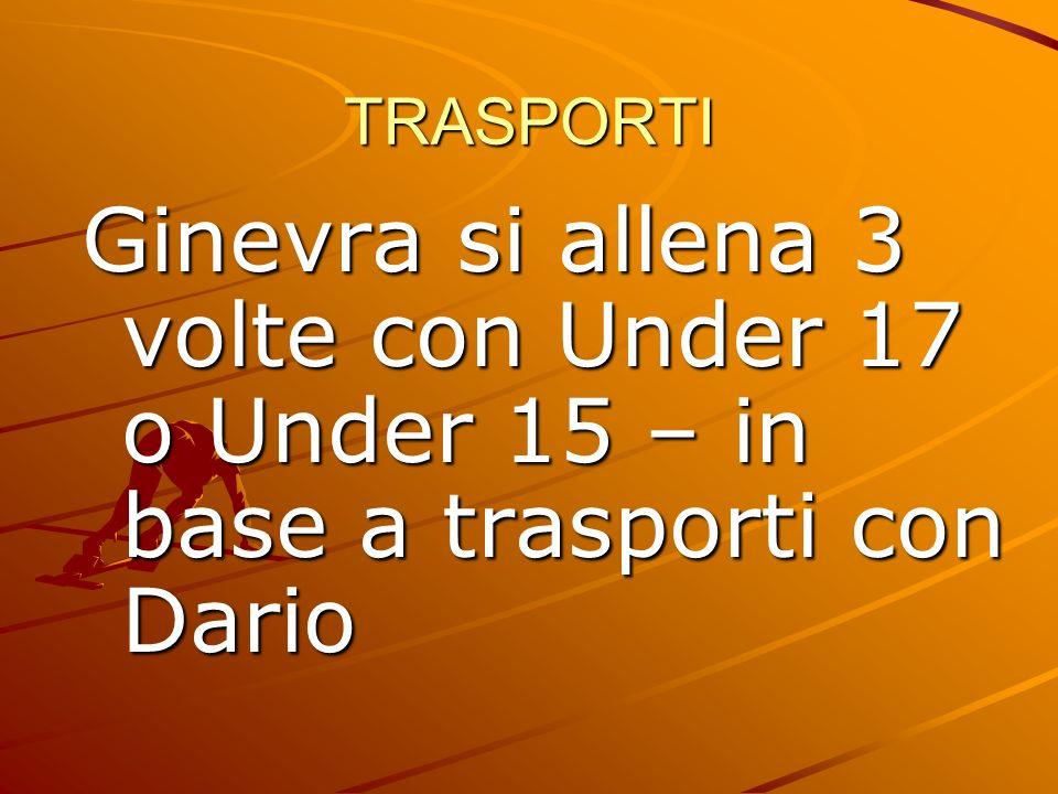 TRASPORTI Ginevra si allena 3 volte con Under 17 o Under 15 – in base a trasporti con Dario