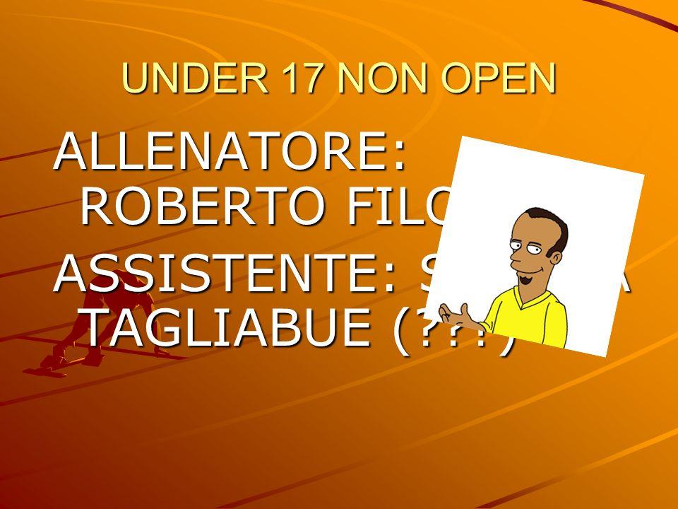 UNDER 17 NON OPEN ALLENATORE: ROBERTO FILOCAMO ASSISTENTE: SIMONA TAGLIABUE (???)