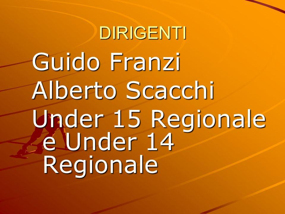 DIRIGENTI Guido Franzi Alberto Scacchi Under 15 Regionale e Under 14 Regionale