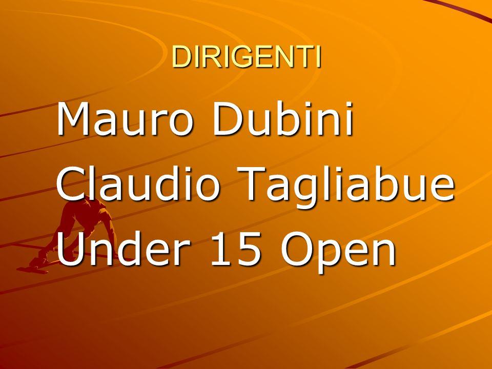 DIRIGENTI Mauro Dubini Claudio Tagliabue Under 15 Open