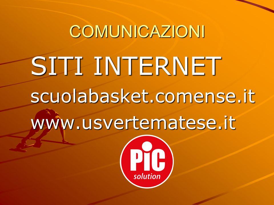 COMUNICAZIONI SITI INTERNET scuolabasket.comense.itwww.usvertematese.it