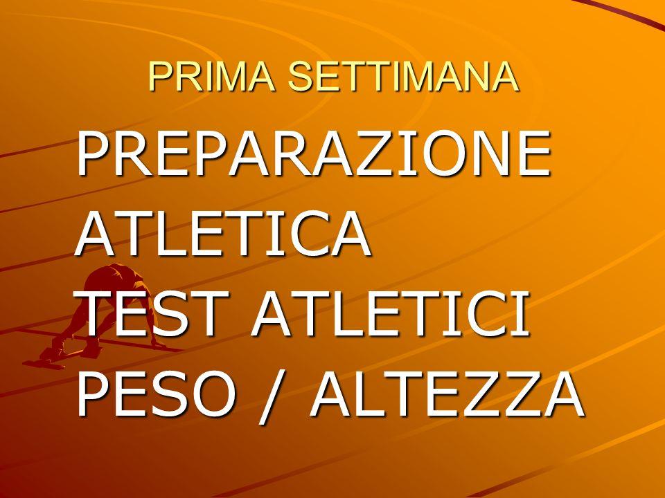 PRIMA SETTIMANA PREPARAZIONEATLETICA TEST ATLETICI PESO / ALTEZZA