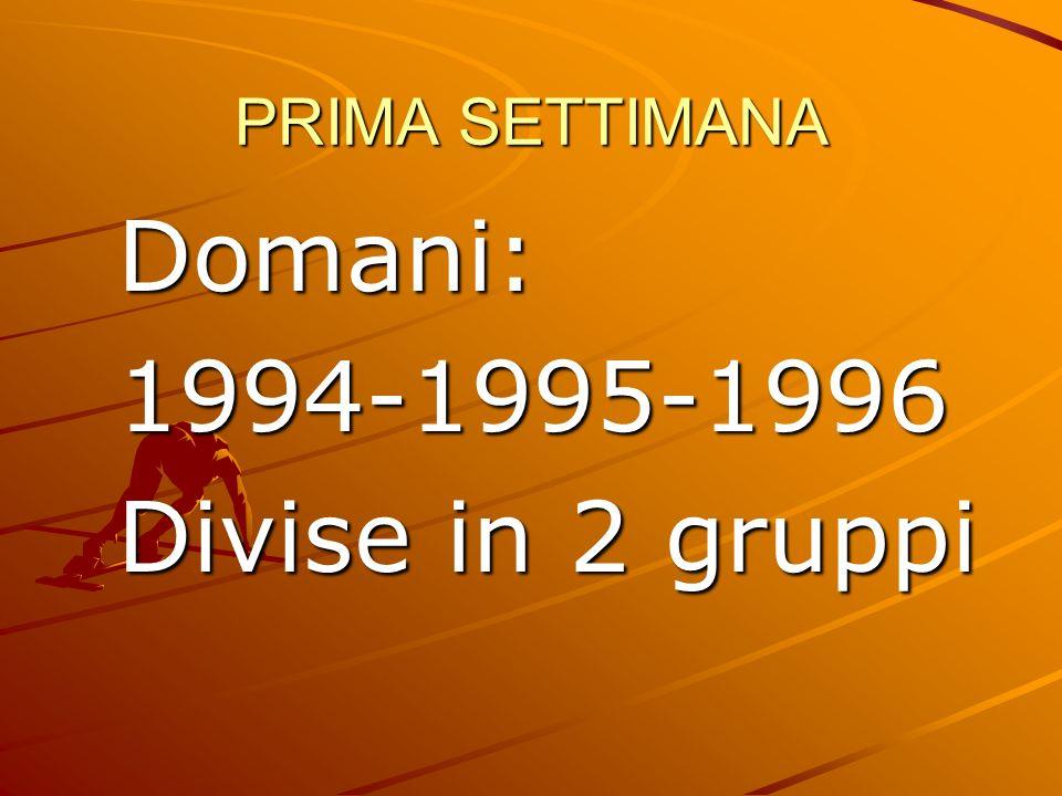 PRIMA SETTIMANA Domani:1994-1995-1996 Divise in 2 gruppi