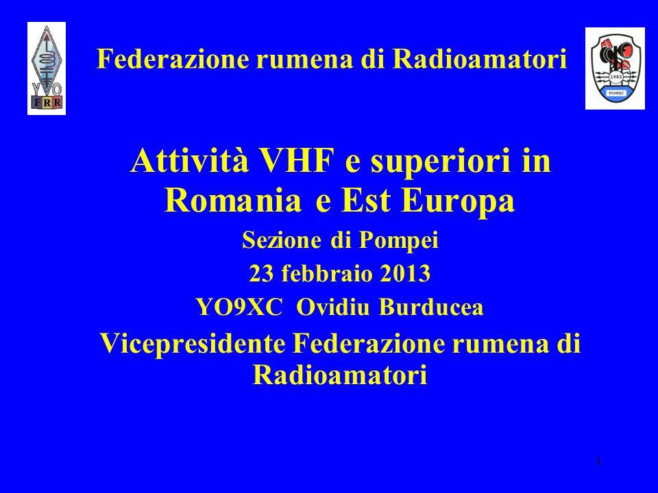 1 Federazione rumena di Radioamatori Attività VHF e superiori in Romania e Est Europa Sezione di Pompei 23 febbraio 2013 YO9XC Ovidiu Burducea Vicepre