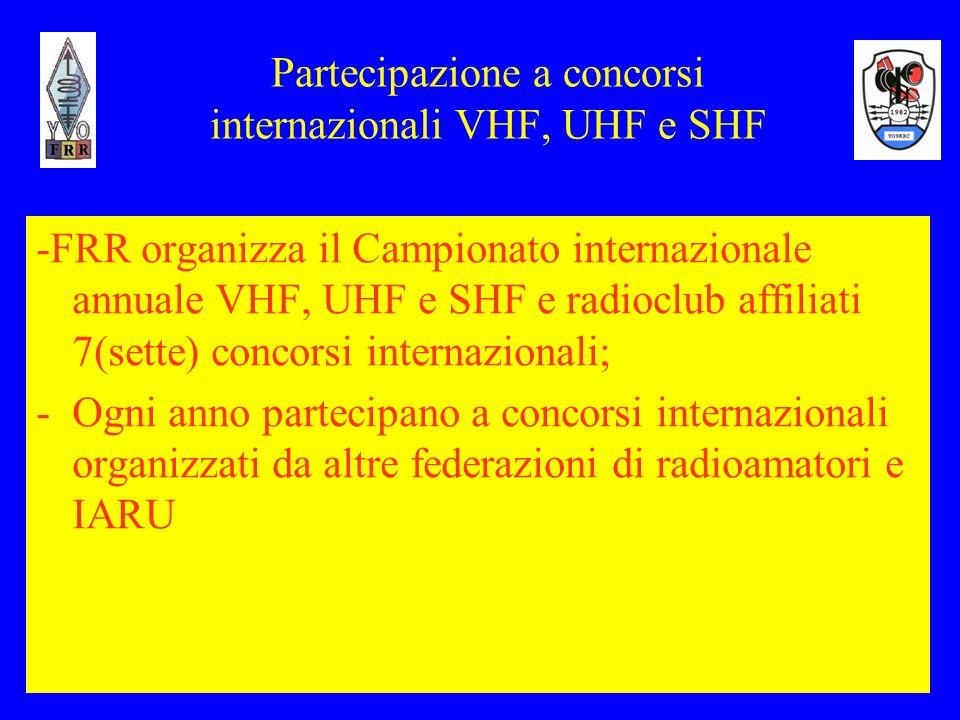 10 Partecipazione a concorsi internazionali VHF, UHF e SHF -FRR organizza il Campionato internazionale annuale VHF, UHF e SHF e radioclub affiliati 7(