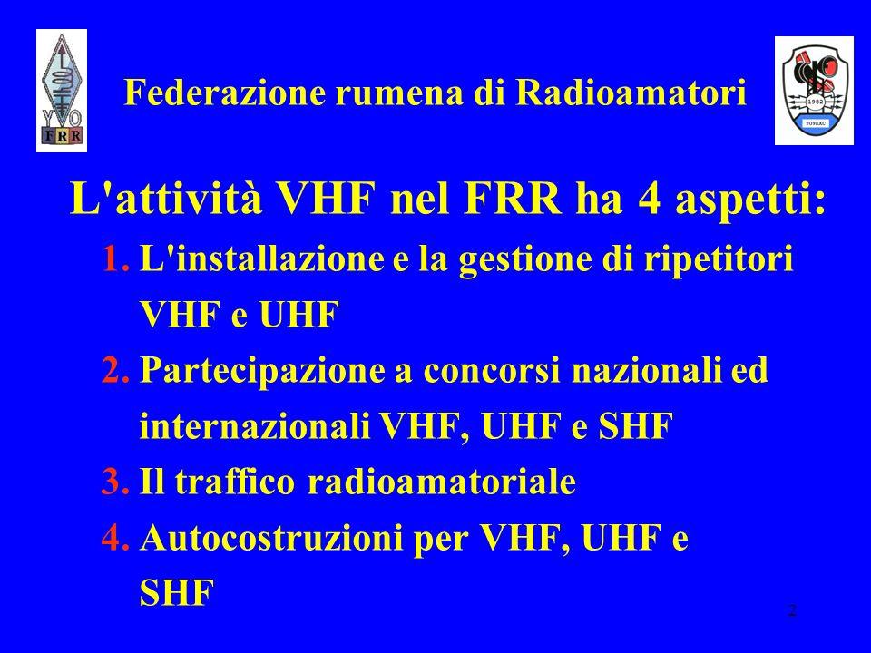 2 Federazione rumena di Radioamatori L'attività VHF nel FRR ha 4 aspetti: 1. L'installazione e la gestione di ripetitori VHF e UHF 2. Partecipazione a