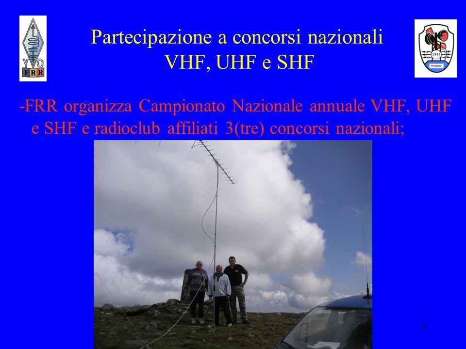 6 Partecipazione a concorsi nazionali VHF, UHF e SHF -FRR organizza Campionato Nazionale annuale VHF, UHF e SHF e radioclub affiliati 3(tre) concorsi