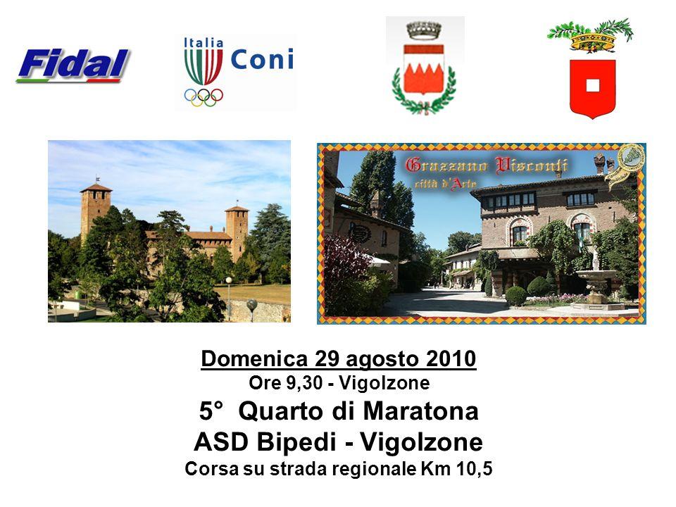 Domenica 29 agosto 2010 Ore 9,30 - Vigolzone 5° Quarto di Maratona ASD Bipedi - Vigolzone Corsa su strada regionale Km 10,5