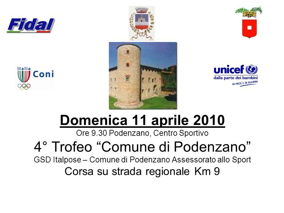 Domenica 11 aprile 2010 Ore 9.30 Podenzano, Centro Sportivo 4° Trofeo Comune di Podenzano GSD Italpose – Comune di Podenzano Assessorato allo Sport Co
