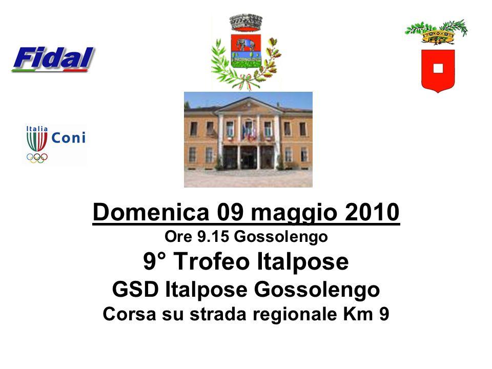 Domenica 09 maggio 2010 Ore 9.15 Gossolengo 9° Trofeo Italpose GSD Italpose Gossolengo Corsa su strada regionale Km 9
