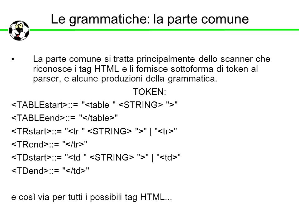Le grammatiche: la parte comune La parte comune si tratta principalmente dello scanner che riconosce i tag HTML e li fornisce sottoforma di token al p