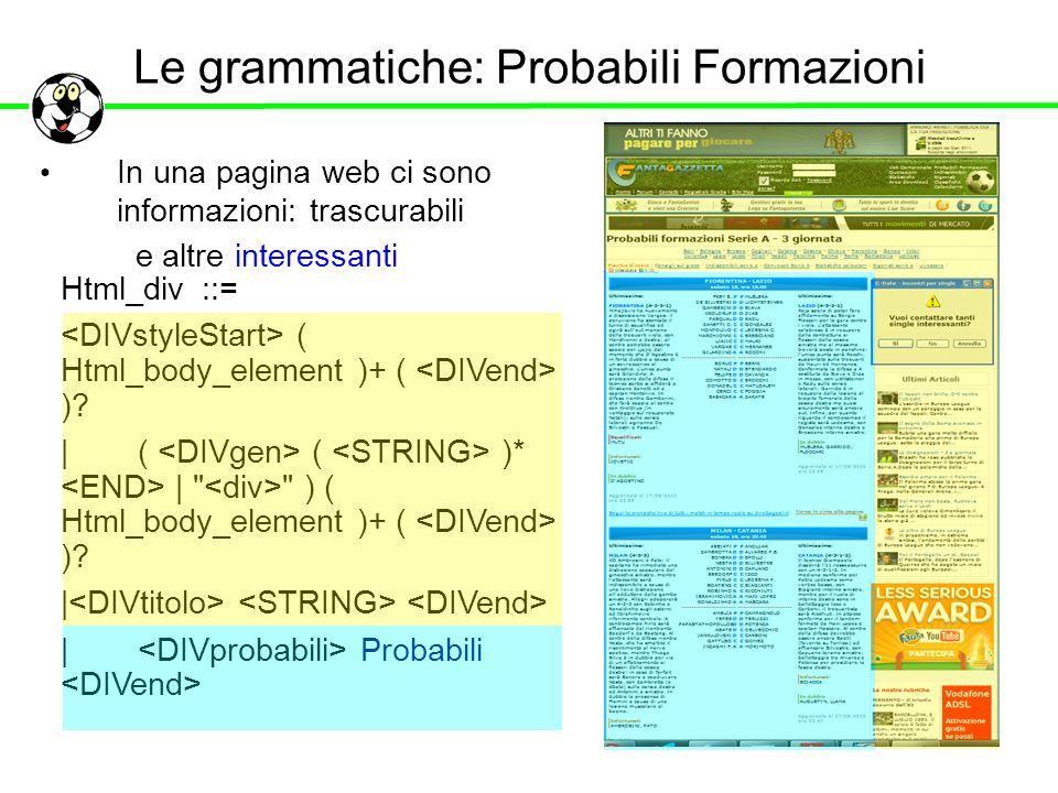 Le grammatiche: Probabili Formazioni In una pagina web ci sono informazioni: trascurabili Html_div ::= ( Html_body_element )+ ( )? | ( ( )* |