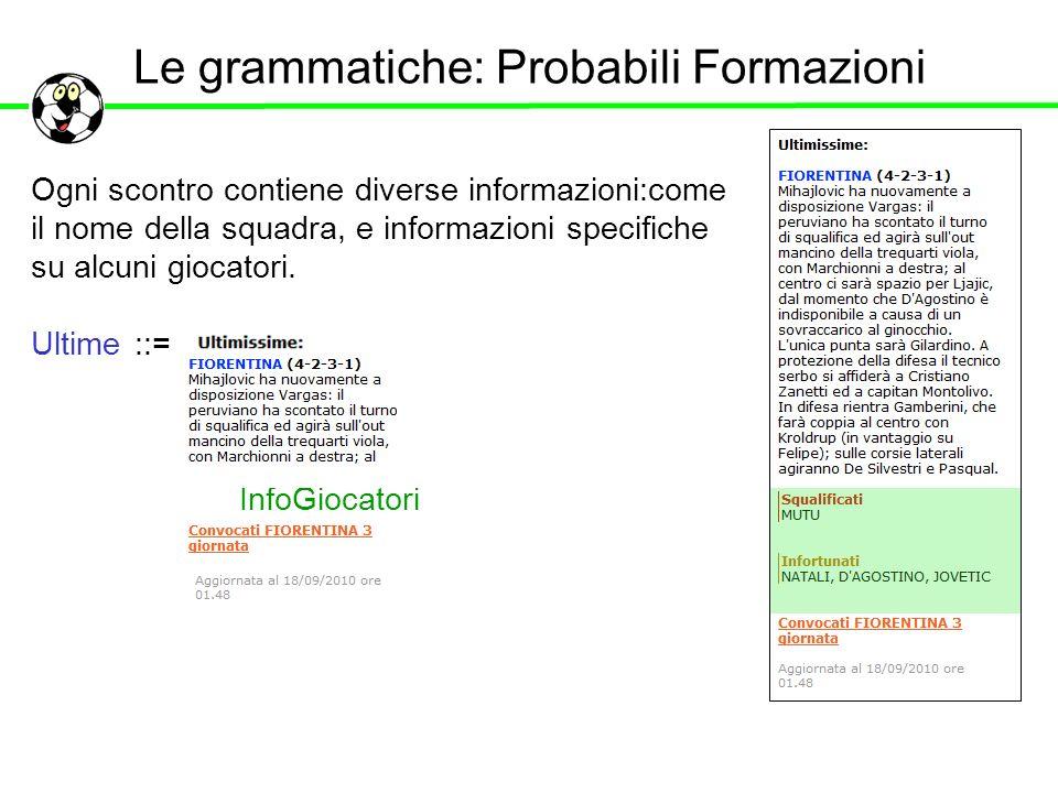 Le grammatiche: Probabili Formazioni Ogni scontro contiene diverse informazioni:come il nome della squadra, e informazioni specifiche su alcuni giocat