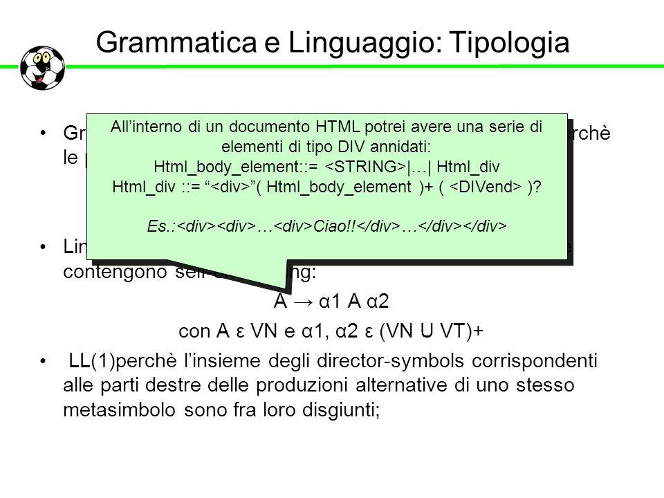 Grammatica e Linguaggio: Tipologia Grammatica di tipo 2(context free) secondo Chomsky perchè le produzioni sono vincolate alla forma:: A α con A ε VN