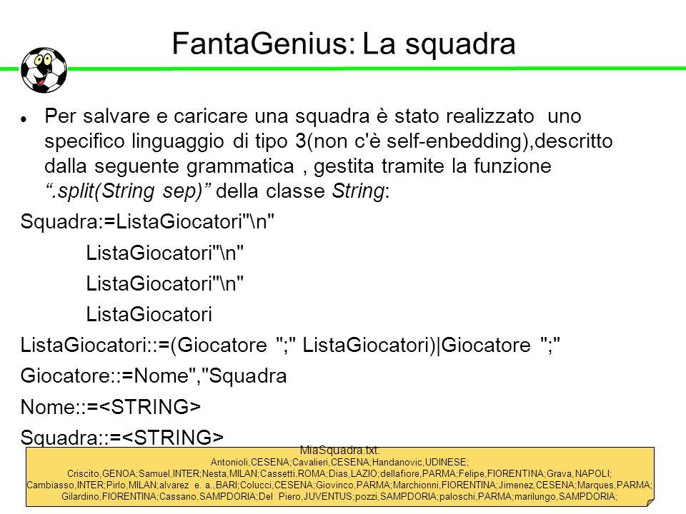 FantaGenius: La squadra Per salvare e caricare una squadra è stato realizzato uno specifico linguaggio di tipo 3(non c'è self-enbedding),descritto dal