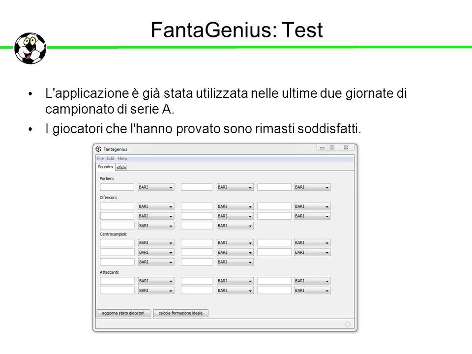 FantaGenius: Test L'applicazione è già stata utilizzata nelle ultime due giornate di campionato di serie A. I giocatori che l'hanno provato sono rimas