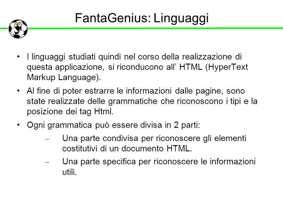 FantaGenius: Linguaggi I linguaggi studiati quindi nel corso della realizzazione di questa applicazione, si riconducono all HTML (HyperText Markup Lan