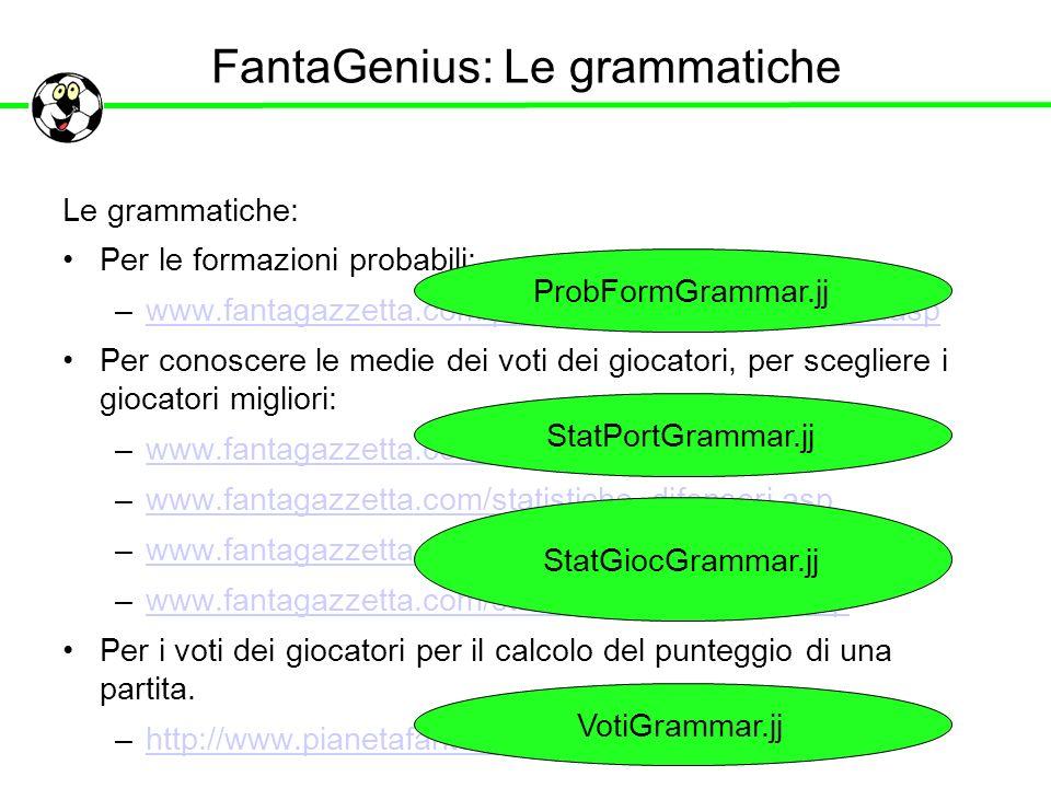 FantaGenius: Le grammatiche Le grammatiche: Per le formazioni probabili: –www.fantagazzetta.com/probabili-formazioni-serie-a.aspwww.fantagazzetta.com/