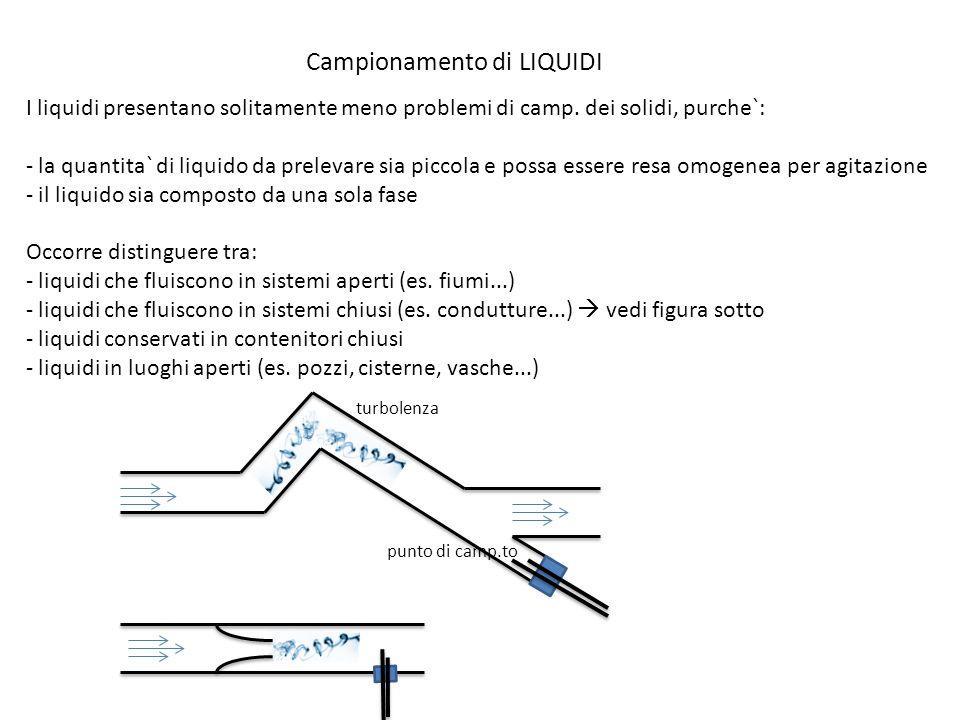 Campionamento di LIQUIDI I liquidi presentano solitamente meno problemi di camp. dei solidi, purche`: - la quantita` di liquido da prelevare sia picco