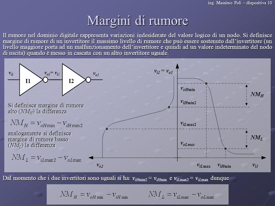 ing. Massimo Poli – diapositiva 10 Margini di rumore Il rumore nel dominio digitale rappresenta variazioni indesiderate del valore logico di un nodo.