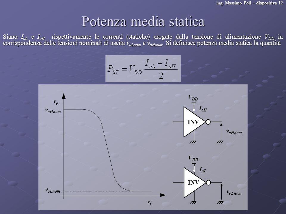 ing. Massimo Poli – diapositiva 12 Potenza media statica Siano I oL e I oH rispettivamente le correnti (statiche) erogate dalla tensione di alimentazi