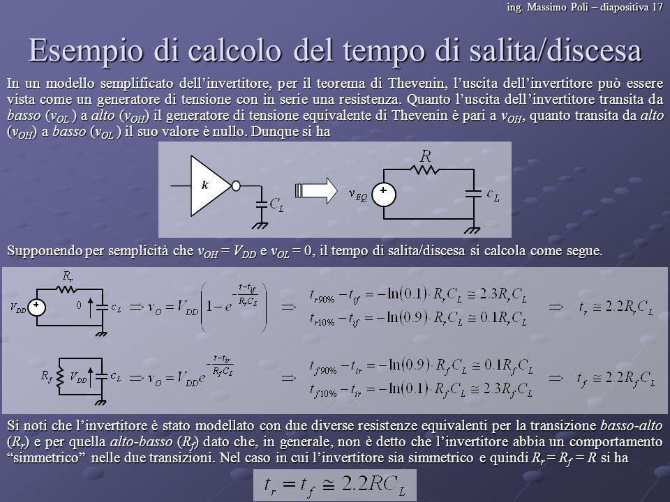 ing. Massimo Poli – diapositiva 17 Esempio di calcolo del tempo di salita/discesa In un modello semplificato dellinvertitore, per il teorema di Theven