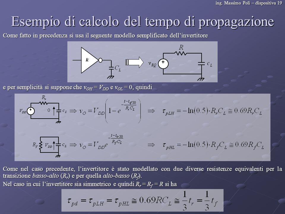 ing. Massimo Poli – diapositiva 19 Esempio di calcolo del tempo di propagazione Come fatto in precedenza si usa il seguente modello semplificato delli