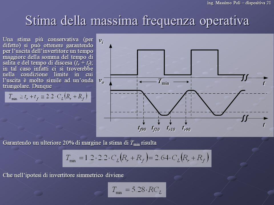 ing. Massimo Poli – diapositiva 21 Stima della massima frequenza operativa Una stima più conservativa (per difetto) si può ottenere garantendo per lus