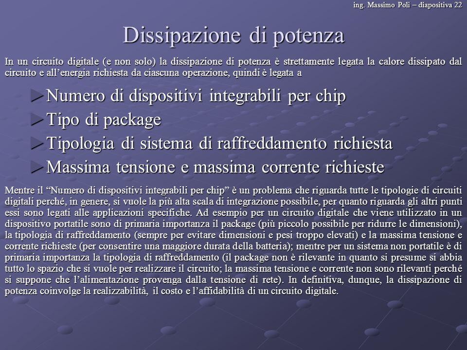ing. Massimo Poli – diapositiva 22 Dissipazione di potenza Numero di dispositivi integrabili per chip Numero di dispositivi integrabili per chip Tipo